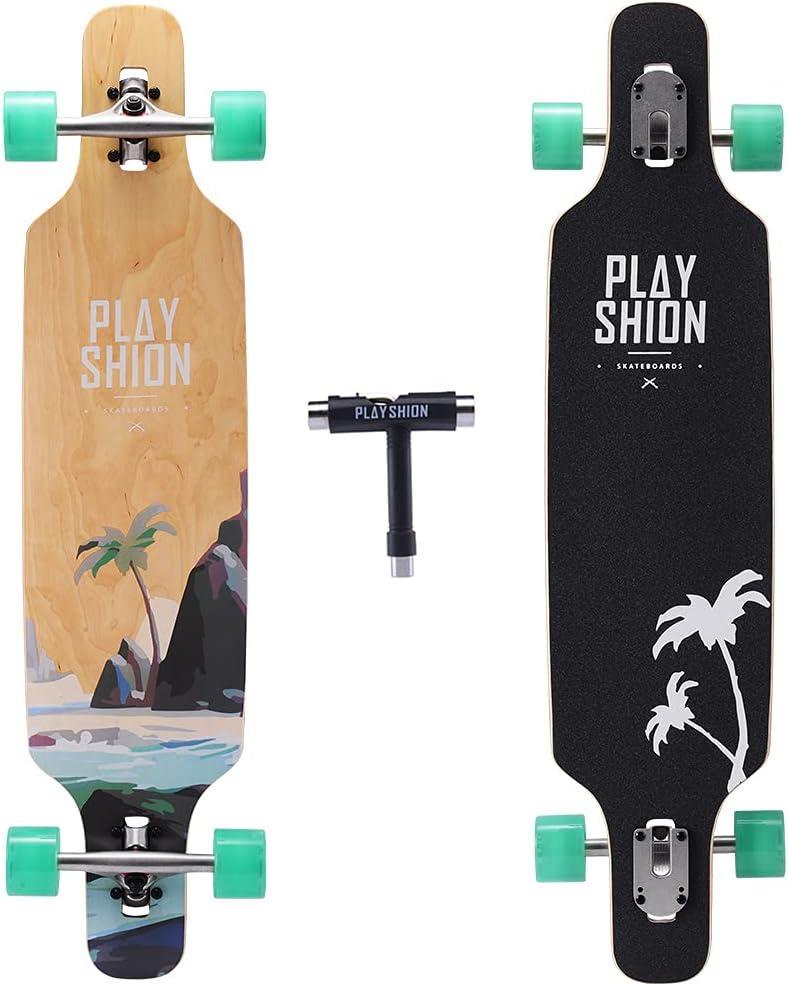 Playshion Drop Through Freestyle Cruiser Longboard  Longboard Drop Through Decks