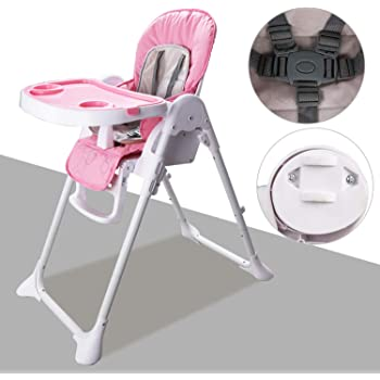 5-Point Security Belt Premium high Chair with Adjustable seat Foldable ib style/® Jule Circles Pink