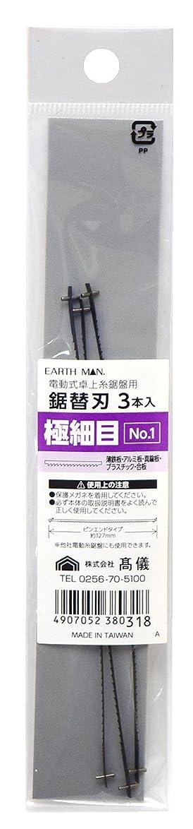 微生物クアッガ浴高儀 EARTH MAN 電動式 卓上糸鋸盤用 鋸替刃 極細目 3本入 No.1