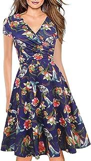 LOVEXIU Abito Donna Elegante Estivo, Vintage Giallo Vestito Chic Boho, Vestito Elegante Midi, Sexy Abbigliamento Donna Est...