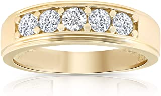 1 Ct Diamond Ring Mens High Polished Solid Yellow Gold Wedding Band Lab Grown