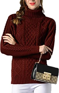Sorrica Women Casual Warm Ribbed Cable Knit Turtleneck Long Sleeve Knitted Sweater Pullover