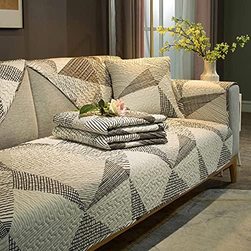 ZSDCG Funda de sofá para muebles, toalla de sofá con lunares en blanco y negro, fundas de sofá seccionales de algodón, funda reclinable para sala de estar