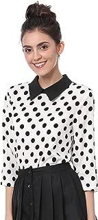 Allegra K Women 3/4 Sleeves Contrast Peter Pan Collar Polka Dots Blouse