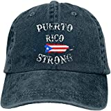 Unisex Puerto Rico Strong Yarn-Dyed Denim Baseball Cap Adjustable Topee for Men Or Women New Gifts Cool 2021