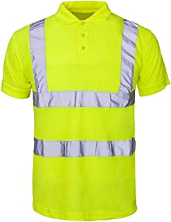 RIDDLED WITH STYLE Adults Reflective Tape Collar Safety Tshirt Mens Hi Viz Security Work Wear Top