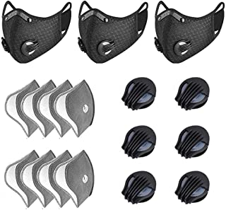 YUESUO 3 Pieces Unisex Adjustable Cycling Windproof Face Shields Replaceable Veils Guard with 8 Filters 6 Exhaust Valves for Outdoor Activities Woodworking Running Bike Mowing(Black)