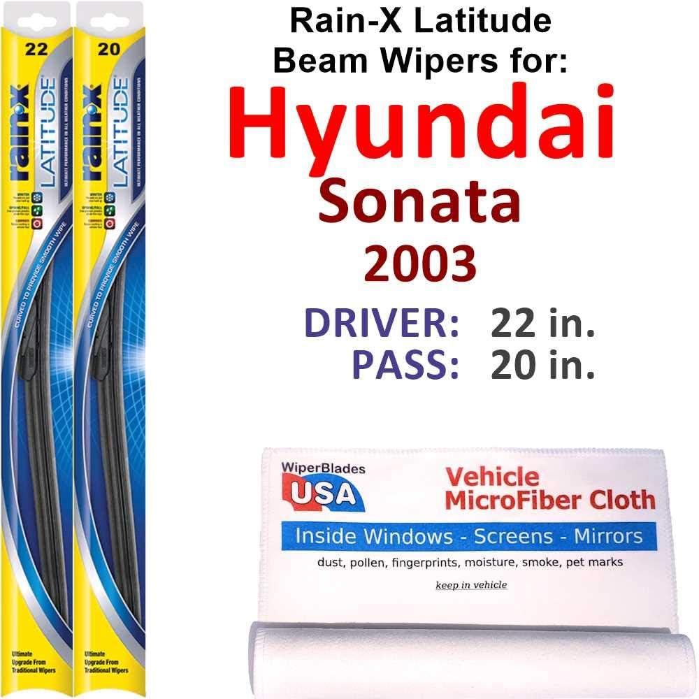 Rain-X Latitude Beam Wiper San Francisco Mall Blades Manufacturer direct delivery for Hyundai Set Ra 2003 Sonata