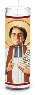Celebrity Prayer Candles Carl Sagan Funny Saint Candle - 8 inch Glass Prayer Votive - 100% Handmade in USA - Novelty Celebrity Gift