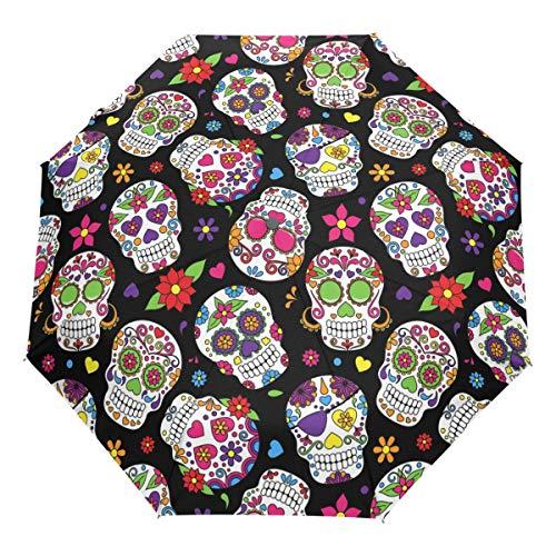 Wamika - Paraguas de viaje con diseño de calavera de azúcar muerta, con cierre abierto, resistente al viento, ligero, compacto, parasol, paraguas y lluvia