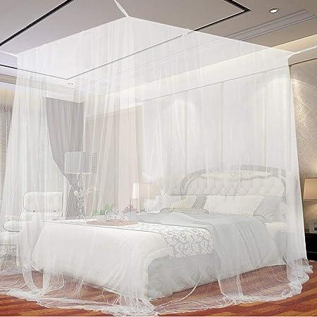 Moustiquaire, Opamoo Moustiquaire de lit Grand Moustiquaire en Polyester pour Lits Simples et Doubles, Moustiquaire Baldaquin Intérieur et Extérieur - Blanc