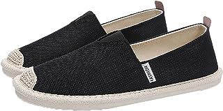 Espadrilles pour Hommes Couleur Unie Chaussures en Toile Respirantes Simples Mocassins de Loisirs Plats antidérapants sans...