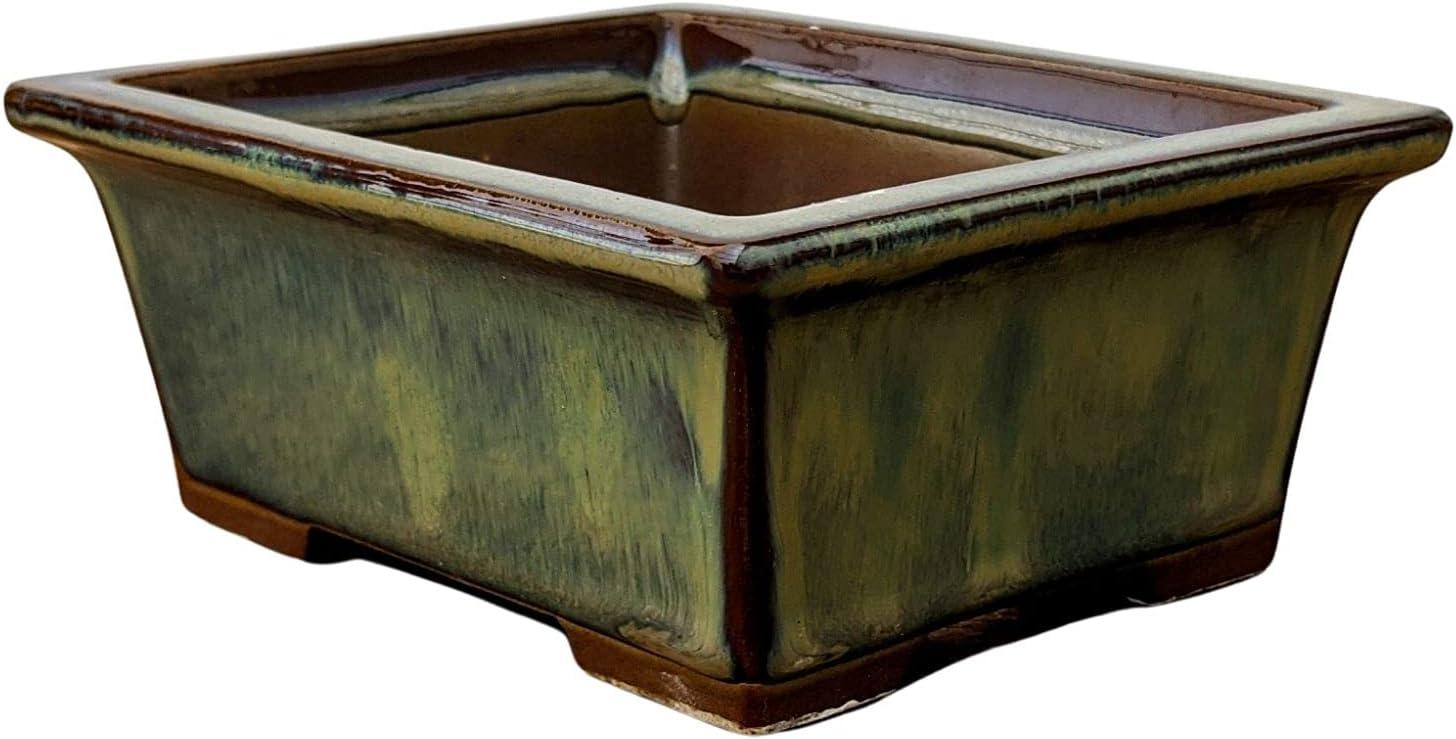 Ceramic Bonsai Pots with Drainage Glazed - Louisville-Jefferson County Mall Green Bonsa Five-Inch safety