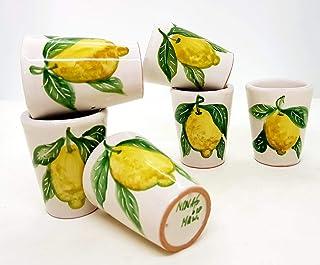n. 6 Bicchierini Limoncello Linea Limoni Realizzati e dipinti a mano Le Ceramiche del Castello Made in Italy dimensioni h ...