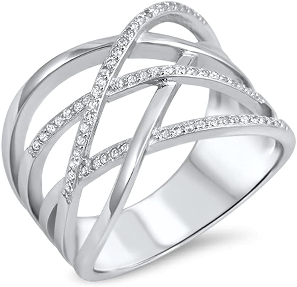 Clear CZ Micro Pave Over item handling Dealing full price reduction Weave Knot New Silver Sterling .925 Ban Ring
