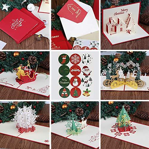 Kesote 6 3D Tarjetas de Felicitación de Navidad Tarjetas de Navidad con Modelo 3D Árbol De Navidad, Santa Claus, Copo De Nieve, Conjunto de 6 Boletos + 6 Sobres + 6 Pegatinas