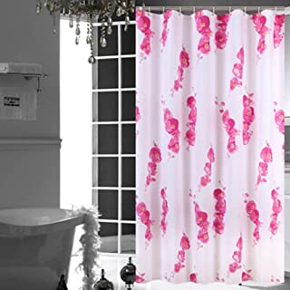 UMarsDeal Custom Plum Blossom Printing Shower Curtain White 60x72 inch