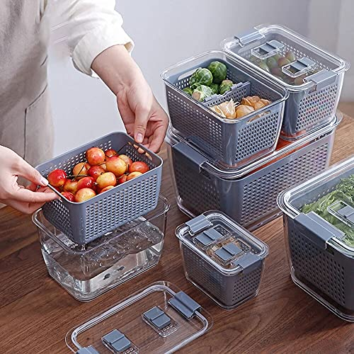 Cesta de verduras Crisper Caja de almacenamiento de drenaje doble sellado Refrigerador Fruta Vegetal Drenaje Enviadores de almacenamiento con tapa de cocina Frigorífico Organizador ( Color : M )
