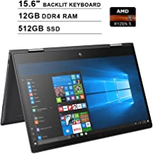 2019 HP Envy x360 15.6 Inch FHD 2-in-1 Touchscreen Laptop (AMD Ryzen 5 2500U 4-Core up to 3.6GHz, 12GB RAM, 512GB SSD, AMD Radeon Vega 8, Backlit KB, WiFi, Bluetooth, HDMI, Win10) (Renewed)