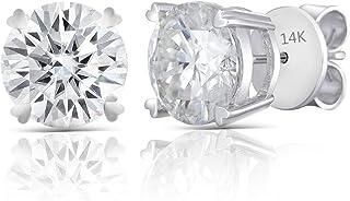 DovEggs Solid 14K White Gold 6CTW 9mm G-H-I Color Heart Arrows Cut Created Moissanite Stud Earrings Push Back for Women