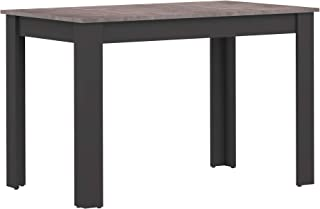 Marca Amazon -AmazonBasics - Mesa de comedor, 110 x 70 x 73.4cm (largo x ancho x alto), negro con superficie efecto hormigón