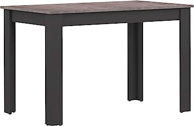 Marque Amazon -Amazon Basics - Table de salle à manger, 110x70x73.4cm (longueurxprofondeurxhauteur), Noir et partie supérieure en béton