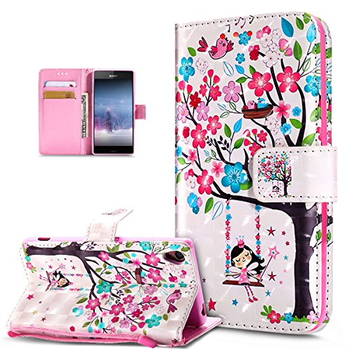 Kompatibel mit Schutzhülle Sony Xperia Z3 Hülle Handyhülle,3D Bunte Gemalte Schmetterlings Muster PU Lederhülle Flip Ständer Wallet Handy Hülle Tasche Handy Tasche Schutzhülle,Rosa Blumen Baum Vögel