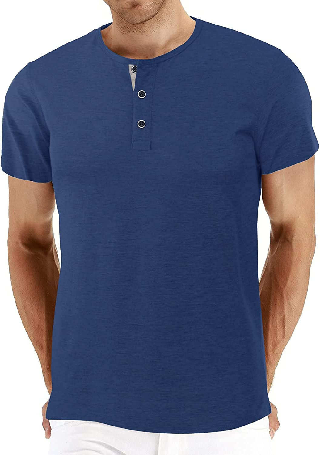 BBDMY Men's Fashion Casual Front Placket Short Sleeve Henley T-Shirts Cotton Shirts