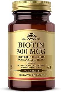 Solgar Biotin 300 mcg, 100 Tablets - Energy, Metabolism, Supports Healthy Skin, Nails & Hair - Non-GMO, Vegan, Gluten Free...