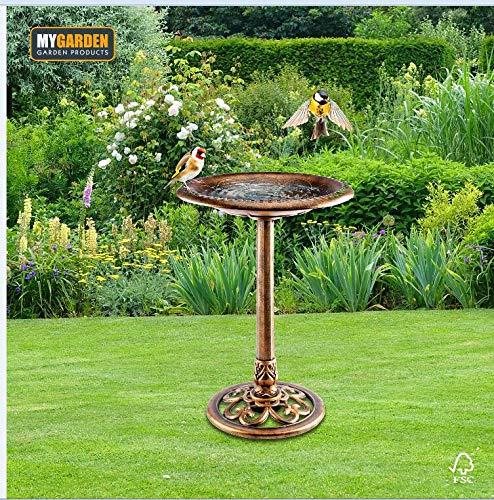 My Garden Garden Bird Bath - Antique Brass Effect Large Bird Bath Bowl - All Weather Resistant Garden Water Feature