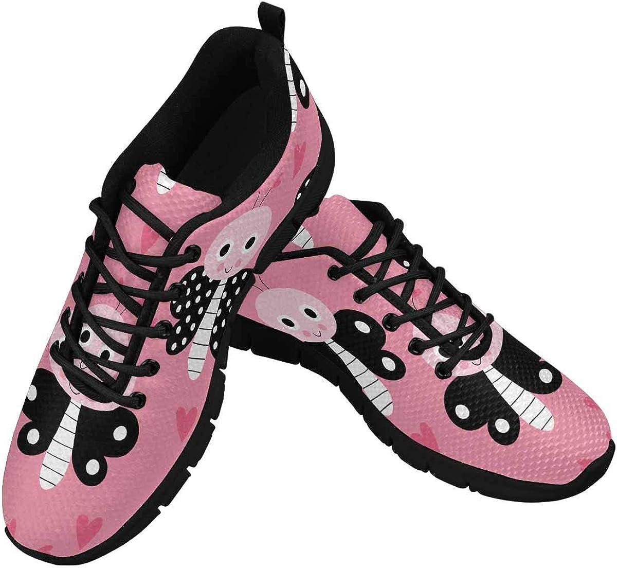 INTERESTPRINT Butterfly Background Women's Athletic Walking Shoes Comfort Mesh Non Slip