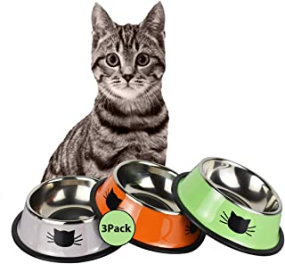 YASMA 3 Cat Bowls Stainless Steel Pet Cat Bowl Kitten Rabbit Cat Dish Bowl with Cute Cats Painted cat Food Dish Easy to Cl...