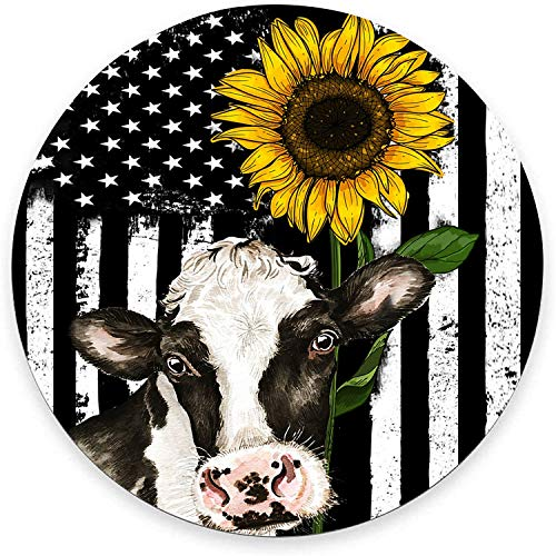 Round Mouse Pad, American Flag Mouse Pad, Sunflower Cow Design Gaming Mouse Mat Waterproof Circular Small Mouse Pad Non-Slip Rubber Base MousePads for Office Home Laptop Travel, 7.9'x0.12' Inch