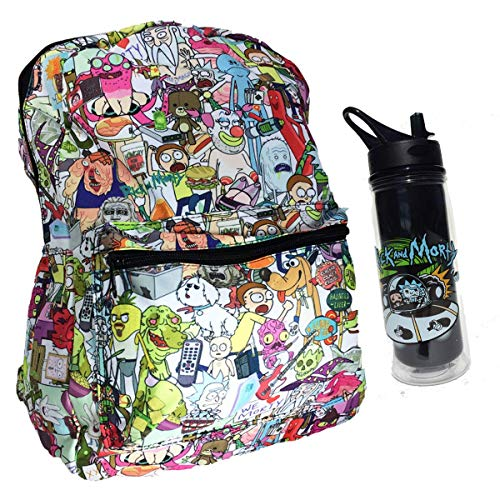 """Rick and Morty 17"""" Sublimated Canvas School Backpack Bag & 34 oz Durable Water Bottle"""