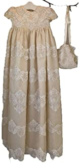 Suitshome Beading Christening Gown Applique Champagne Long Baptism Dresses (New Born, Champagne)