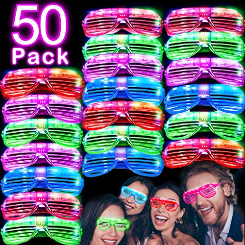 50 Pack LED Glasses Light Up Party Glasses Glow in The Dark Party Supplies Shutter Shades Rave Neon Flashing Glasses Carnival Sunglasses for Adults Kids Birthday St.Patrick's Day Party Favor