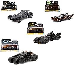 Collect them ALL!! Set of 4 Batmobiles Jada Metal 1:32 Scale -1966 Classic TV Series Batmobile -Batman 1989 Batmobile -- The Dark Knight Batmobile -2016 Batman V Superman Batmobile Die-Cast Vehicles
