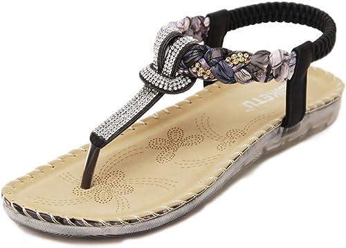 L-X Bohemia Sandals Tongs D'été Fleur Peep-Toe Marche à Chevrons Ethniques Strass Chaussures Plates, Noir, 39 UE