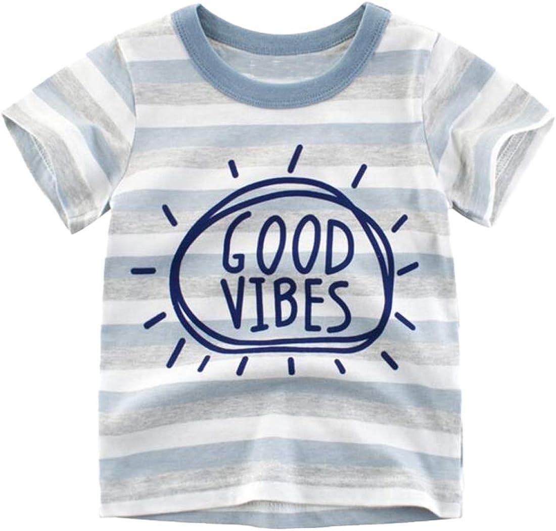 Ashmyova Boy's Short Sleeve Cotton T-Shirts Car Graffiti Print Summer Tops
