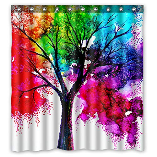 FMSHPON Autumn Tree Art Colorful Rainbow Tree Waterproof Shower Curtain 66 x 72 inches