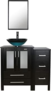 eclife 36'' Bathroom Vanity Sink Combo W/Black Small Side Cabinet Vanity Turquoise Square Tempered Glass Vessel Sink & 1.5 GPM Water Save Faucet & Solid Brass Pop Up Drain, With Mirror (A10B11)