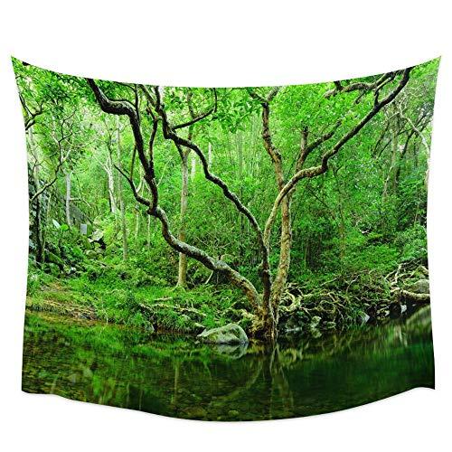 Anime paisaje tapiz de pared toalla de playa verde cascada picnic decoración del hogar fondo tela revestimiento de pared a13 130x150 cm