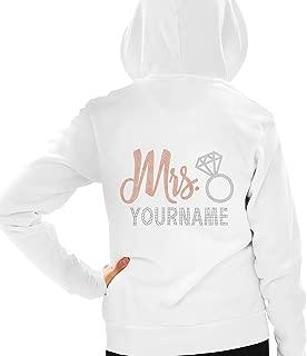 Bride Zip Hoodie - Rose Gold Mrs.Custom Hooded Sweatshirt - Personalized Wedding Gift