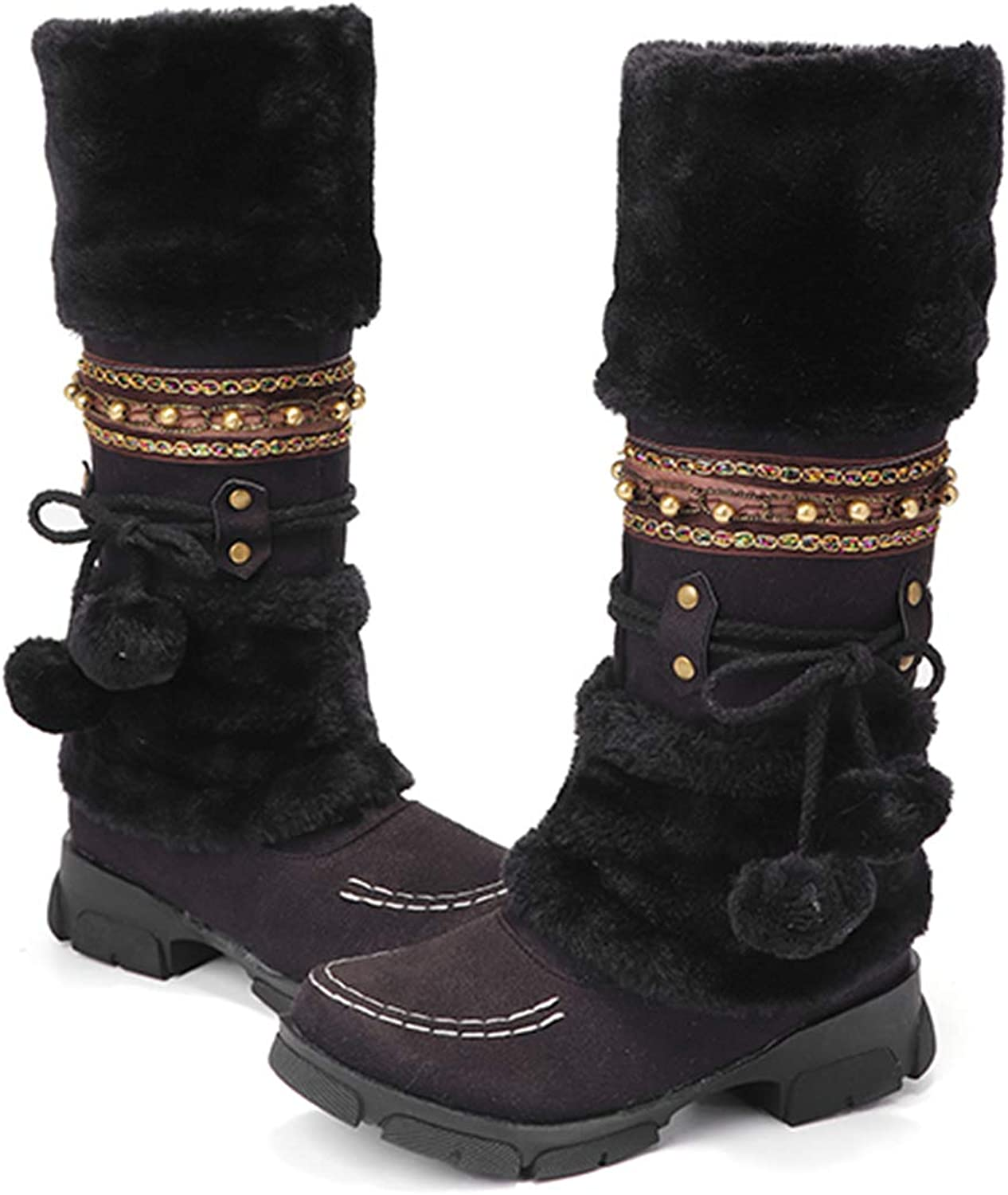 Camfosy Winter Boots Warm Fur Lined Mid Calf Snow Boots Outdoor Slip on Pom Pom Riding Boots for Women