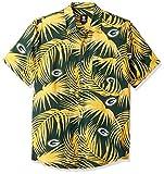 Green Bay Packers NFL Mens Hawaiian Button Up Shirt - L