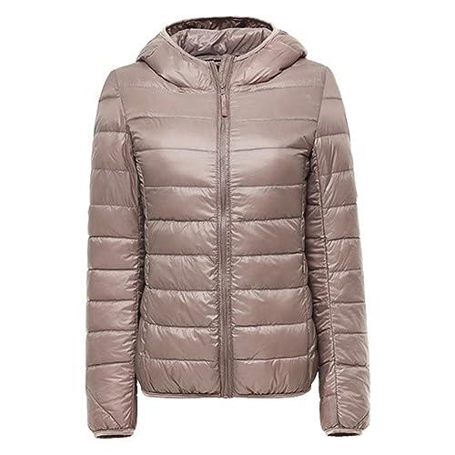 b381f3bc0c55 ZhuiKun Womens/Ladies Ultra Lightweight Packable Short Down Puffer Jacket  Hooded Jackets