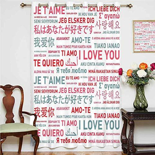 Cortina de ventana Love Decor con mensajes emocionales en varios idiomas del mundo, con ojales impresos y paneles de 160 x 160 cm, para oficina, color blanco, gris y rojo