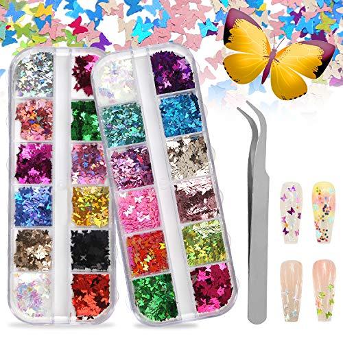 CCINEE, 2 custodie 3D per nail art, con paillettes glitterate e 24 colori assortiti, in lamina acrilica per nail art, trucco, lucidalabbra e progetti fai da te