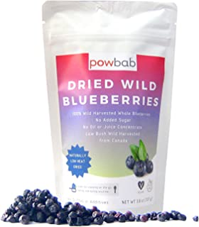 powbab Dried Wild Blueberries. 100% Whole Dried Blueberries No Sugar Added. No Sunflower Oil, No Apple Juice Concentrate, No Sulfites. Unsweetened Blueberries for Keto. Gluten Free, Vegan.