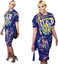 Womens Sexy 2 Piece Dress Set Skull Graffiti Tassel Shirt Ripped Holes Skirt Clubwear Tracksuit Set